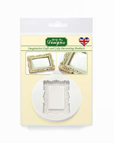 Miniatur Bilderrahmen, rechteckig, Vintage, Schnörkel, Silikonform für Tortendekorationen, Cupcakes, Süßigkeiten und