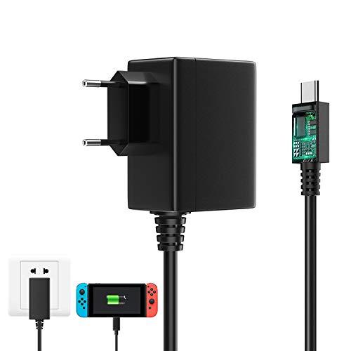 Caricatore per Nintendo Switch 15V 2.6A Adapter PD Carica Rapida, 1.5M Adattatore di Alimentazione Supporta TV Dock Compatibile con Nintendo Switch & Switch Lite, Caricabatterie con Cavo USB Type-C