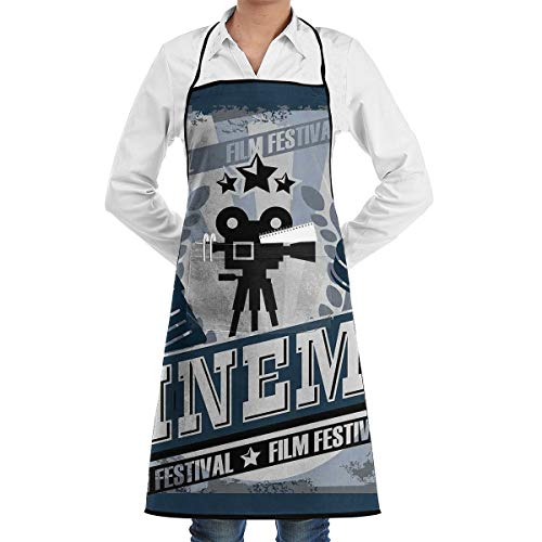 PONIKUCY Schürze Kochschürze,Kino Twin Vintage Kino Poster Design Grunge Effekt und altmodische Icons blau schwarz grau,Küchenschürze Latzschürze Nackenband