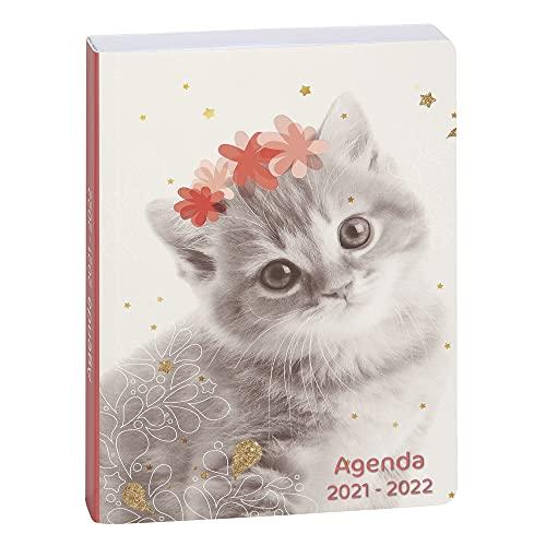 Exacompta - 1824058E - Agenda journalier Forum Lovely - Agenda 1 jour à la page - Couverture cartonnée imprimée - 12 cm x 17 cm - Août 2021 à Juillet 2022 - motif chat fleur