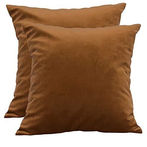 BlueCosto (2_Marrón Terciopelo Fundas de Cojines Funda de cojín para sofá Almohada Dormitorio Coche Suave Decoración 45 x 45 cm