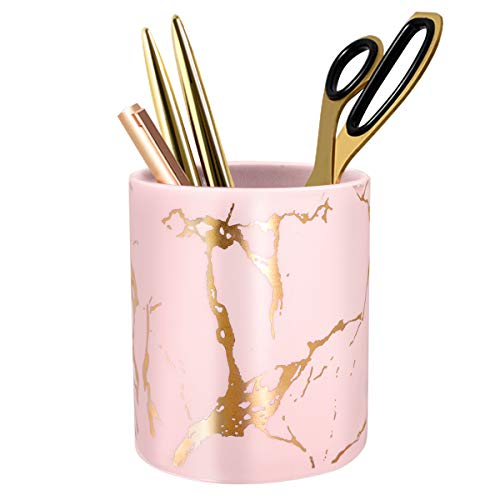 Cute Pencil Holder for Desk, Marble Office Pen Holder Ceramic, WAVEYU Pencil Cup for Women Kids Desk Organizer Makeup Brush Holder Ideal Gift for Daily Use in Classroom, Home, Golden-Pink Marble