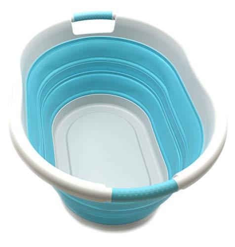 SAMMART Cesto de Ropa Plegable de plástico Tina/cesto Ovalado - Contenedor/Organizador de Almacenamiento Plegable - Tina de Lavado portátil - Cesto de Ropa Que Ahorra Espacio (Gris/Azul Brillante)