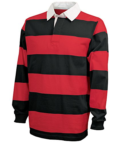 Charles River Apparel Unisex-Adult's Classic Rugby Shirt, Black/Red, L
