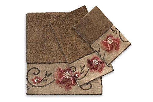 Popular Bath Bath Towels, Larissa Collection, 3-Piece Set, Rose Design