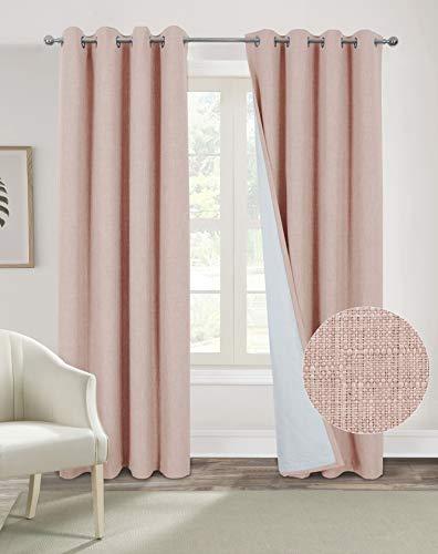 Always4u - Tenda oscurante termica, 100% con occhielli, isolante, per cucina, camera da letto, bambino, 140 x 175 cm, colore: Rosato (Confezione da 2)