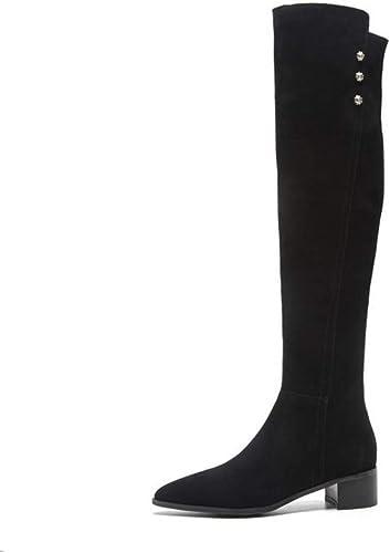 ZL Bottes Hautes Hautes pour Femmes Bottes élastiques Femmes épaisses avec des Bottes Hautes Bottes pour Femmes avec des Bottes Bottes pour Enfants Bas avec 37-46  plus d'ordre