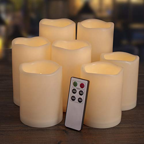 Flameless Candles, Led Candles ,Battery Operated Candles Electric Set of 7(H 4'4'4'5'5'6'6' x D 3') Ivory Resin Candles with Remote Timer Waterproof Outdoor Indoor Candles(Made of Plastic)