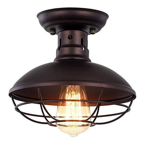 Luces de techo Casa Rural Cerca de Lmpara Semi Flush Monte Metal Cause Ligero Luz Industrial E27 Colgando Iluminacin Vintage Para Dormitorio Cocina Instalacin Entrada Comedor Comedor Closet