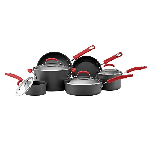 Rachael Ray Brights Hard-Anodized Nonstick Cookware Set with Glass Lids, 10-Piece Pot and Pan Set, Gray with Red Handles