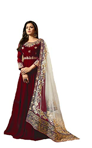Delisa New Desiner Indian/Pakistani eid Special Ethnic/Partywear wear Georgette Anarkali Gown LT (Red, MEDIUM-40)