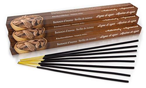 Bâtonnets d'encens de qualité supérieure - Bois d'agar traditionnel d'Inde - Fabrication équitable - Lot de 10 boîtes = 80 pièces par 45 minutes - Bois d'agar pour le nettoyage
