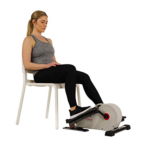 Sunny Health & Fitness Fully Assembled Magnetic Under Desk Elliptical – SF-E3872, Grey (Renewed)