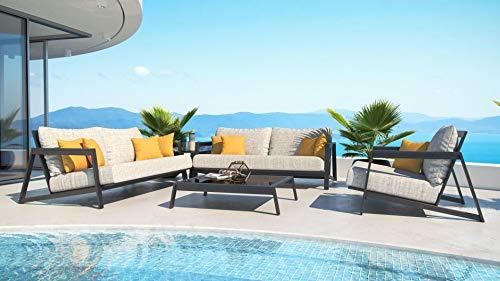 ARTELIA Leonardo M Loungemöbel Set - Designer Gartenmöbel Set für Terrasse, Garten und Wintergarten, Aluminium Terrassenmöbel schwarz
