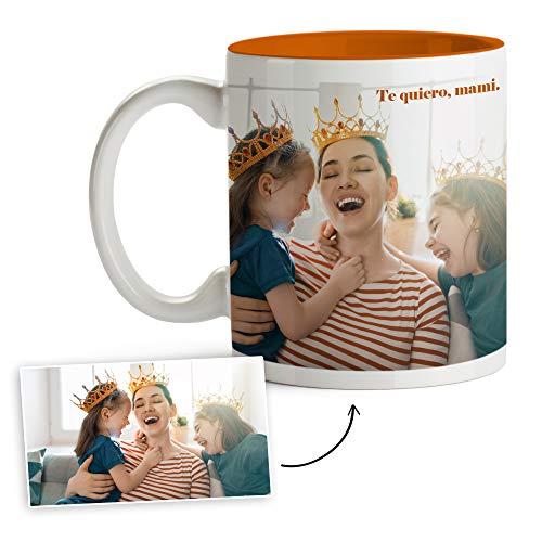 Fotoprix Tazas Personalizadas con Foto y Texto | Regalos Personalizados con Foto para mamá | Taza Personalizada con Nombre | Taza de Color Naranja