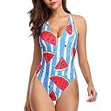 Poachers Traje de baño Mujer Estampado de Sandia Halter Una Pieza Playa Bañador Boho Verano Bikini Push Up Gran tamaño Sexy Beachwear El más Nuevo Swimsuit Conjunto Slim Fit Ropa de baño
