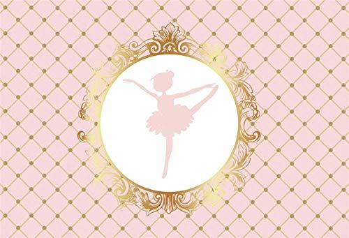 YEELE 8x6ft Ballet Birthday Party Backdrop Rose Golden Little Ballerina Dance Photography Background Princess Girls Birthday Party Baby Shower Decoration Portrait Photoshoot Studio Props