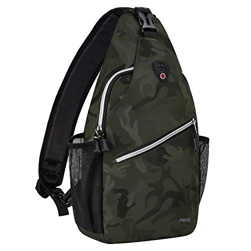 MOSISO Sling Backpack,Travel Hiking Daypack Pattern Rope Crossbody Shoulder Bag, Midnight Green Camouflage