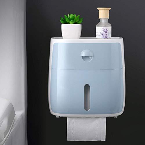 Soporte de Papel higiénico multifunción montado en la Pared Autoadhesivo Impermeable Caja de pañuelos de Almacenamiento para baño Dormitorio Sala de Estudio y Cocina Azul