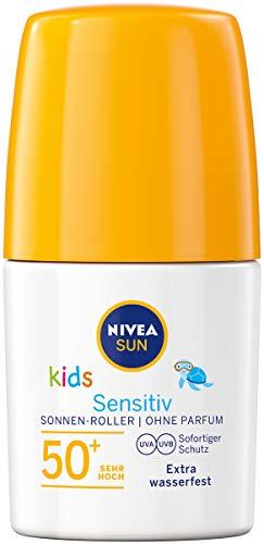 NIVEA SUN Kids Sensitiv Sonnen-Roller im 2er Pack (2 x 50 ml), Sonnencreme mit LSF 50+, praktische Sonnenlotion für empfindliche Kinderhaut