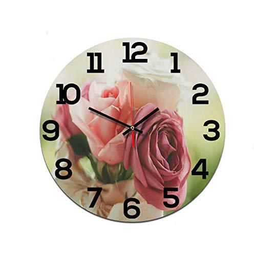 LUOYLYM Hermosa Rosa Carta Decoración Reloj De Pared Reloj Acrílico Mudo Movimiento Reloj Nórdico Reloj Artesanal P190430-13 28CM