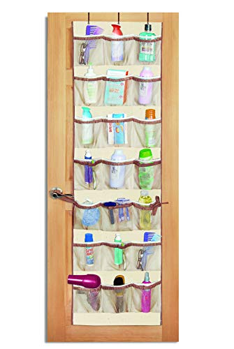 Smart Design Over-The-Door Organizer w/ 42 Pockets w/ Elastic Trim & Steel Hooks - VentilAir Mesh Fabric - for Shoes, Toiletries, &  Misc. Item - Home Organization (21 x 73 Inch) (Natural Canvas)
