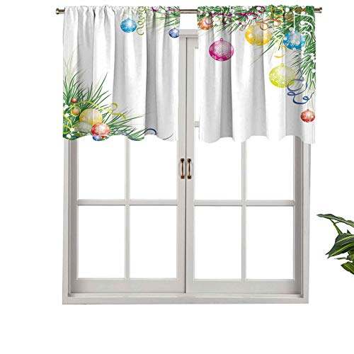 Hiiiman Short Blackout Curtain Valance Rod Pocket Colorful Baubles on Fir Branches Seasonal Ornaments Christmas The, Set of 1, 36'x18' Kitchen Curtains for Living Room