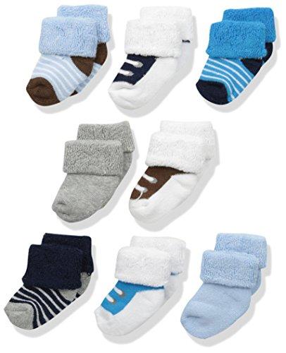 Luvable Friends 28013B Baby Socken Junge 8er Set uni & gemustert Größe: 0-6 Monate
