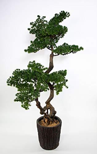 Seidenblumen Roß Bonsai Lärche 120x60cm im Dekotopf GA künstlicher Baum Kunstbaum Kunstpflanzen