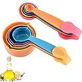 10 pezzi cucina misurini cucchiai dosatore set cucina cucchiaio di misurazione in plastica cucchiai dosatori e misurini colorati per misurazione a secco e ingredienti liquidi