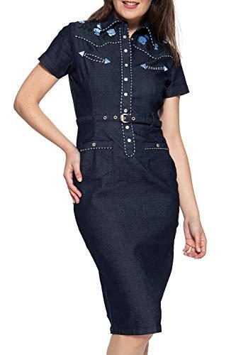 Queen Kerosin Damen Jeanskleid Im Westernchic Ohne Ausschnitt Kurzarm Hemdblusenkleid Figurbetont Bestickt Abgesteppt