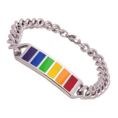Holibanna Homosexuell Stolz Armband Edelstahl Regenbogen Bordstein Armreif Regenbogen Armband Homosexuell Modeschmuck für Männer Frauen
