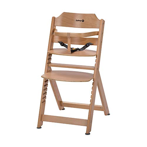 Safety 1st Timba Basic - Mitwachsender extragroßer Hochstuhl und Sicherheitsbügel ohne Tisch, Buchenholz
