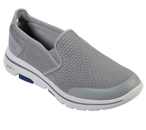 Skechers Men's Gowalk 5 Apprize-Double Gore Slip on Performance Walking Shoe Sneaker, Light Gray/Blue, 9 M US
