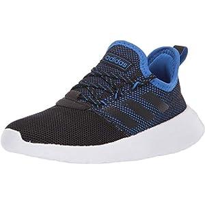 adidas unisex child Lite Racer Reborn Running Shoe, Black/White/Blue, 4 Little Kid US