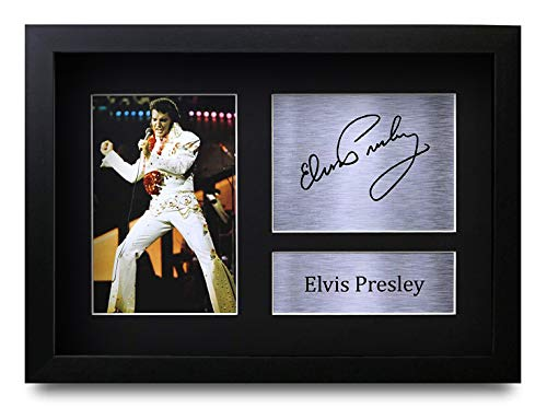 HWC Trading Elvis Presley A4 Enmarcado Regalo De Visualización De Fotos De Impresión De Imagen Impresa Autógrafo Firmado por Aficionados A La Música