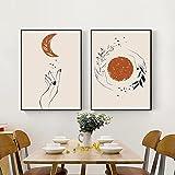 BFDSTY Mystic Hand Sun and Moon Scene Posters Abstract Boho Canvas Arte de la Pared Pintura de Moda e Impresiones Decoración Moderna del hogar Imágenes 40x60cmx2 Sin Marco