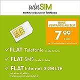Handyvertrag winSIM LTE All 3 GB - ohne Vertragslaufzeit (FLAT Internet 3 GB LTE mit max 50 MBit/s mit deaktivierbarer Datenautomatik, FLAT Handyie, FLAT SMS & EU-Ausland, 7,99 Euro/Monat)