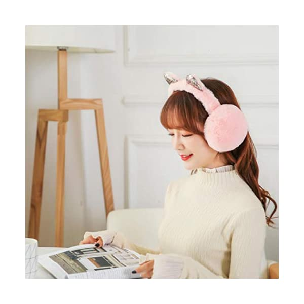 Kikole Women's Winter Warm Earwarmer Foldable Plush Cat Ear Earmuffs Windproof