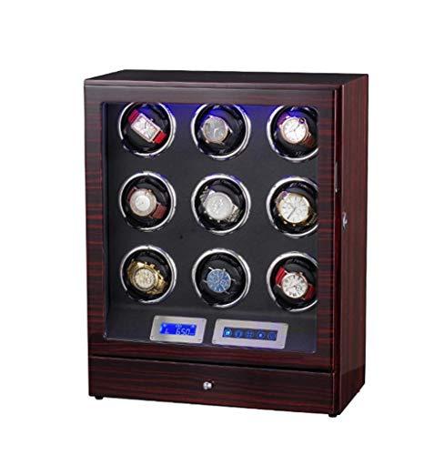 9 + 0 Reloj de Madera automático Mando a Distancia con Control Remoto Pantalla táctil LCD Rotación de devanadores Premium Silent Motor Pine Box con Cierre de cajón