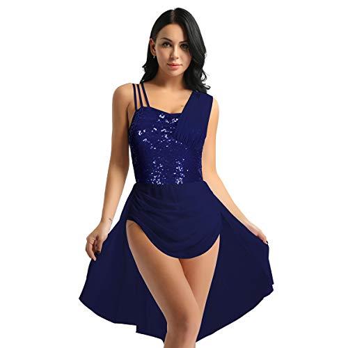IEFIEL Vestido Ballet Mujer Lentejuelas Gasa Maillot de Danza con Falda Sexy Disfraz de Bailarina Ballet Chica Leotardo Gimnasia Vestido Lentejuelas Salsa Tango Latín Azul Marino M