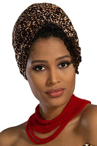 Head Turbans For Women Fashion Instant Turban Shirred Head Scarf Hat Cheetah
