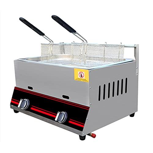 Deep Fryer Friggitrice a Gas Professionale, friggitrice a Gas 6L/12L Serbatoio in Acciaio Inox Friggitrice per Patatine Fritte con Paletta per cestello per Ristorante Commerciale