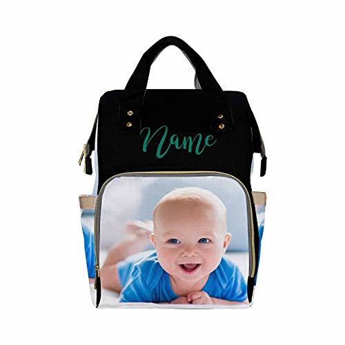 Personalized Backpack with Name, Custom Photo Diaper Bag Happy Baby Picture Fashion Schoolbag Nursing Baby Bags Shoulder Bag Casual Day-Pack Bag for Mom Girls Shopping School Present