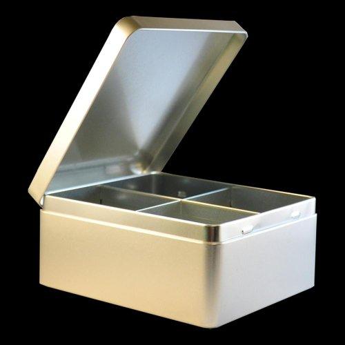 Teebox aus Metall, Teebeuteldose 4 Kammern