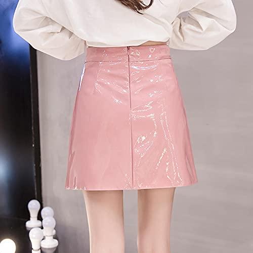 Falda Mujer Faldas De PU Sólidas para Mujer, Minifaldas Elegantes Informales De Cintura Alta, Línea A para...