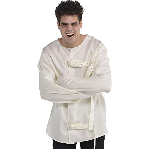 amscan Asylum Straitjacket Halloween Costume for Adults, Cream with Black Print, Large/Extra Large, 8405896 , White