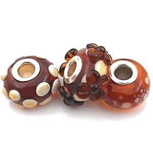 3 Beads Set aus Murano Glas und 925 Sterling Silber kompatible mit Pandora und Trollbeads Armband