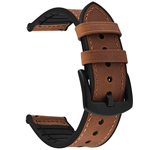 Fullmosa - Cinturino per orologio a sgancio rapido, 22 mm, 20 mm, in pelle, ibrido in silicone, per Samsung Galaxy Watch/Huawei Watch/Garmin Forerunner/Amazfit, Marrone + fibbia nera., 22mm, classico