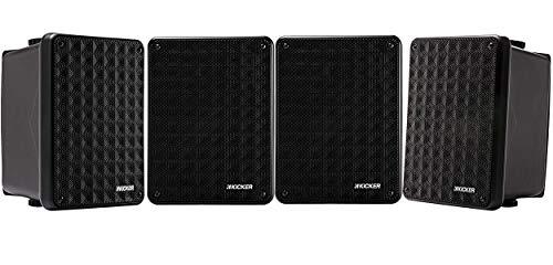 Kicker KB6 2-way Full Range Indoor Outdoor Speakers (Set for 4) Weatherproof Speakers for Patio Sunroom Garage Poolside in-Home | 6.5 inch woofer, 2x5 inch Horn Tweeter | Quick Mounting System - Black